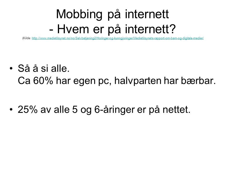Mobbing på internett - Hvem er på internett. (Kilde: http://www