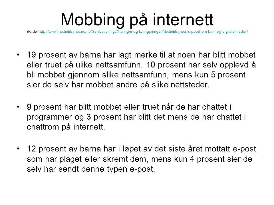 Mobbing på internett (Kilde: http://www. medietilsynet