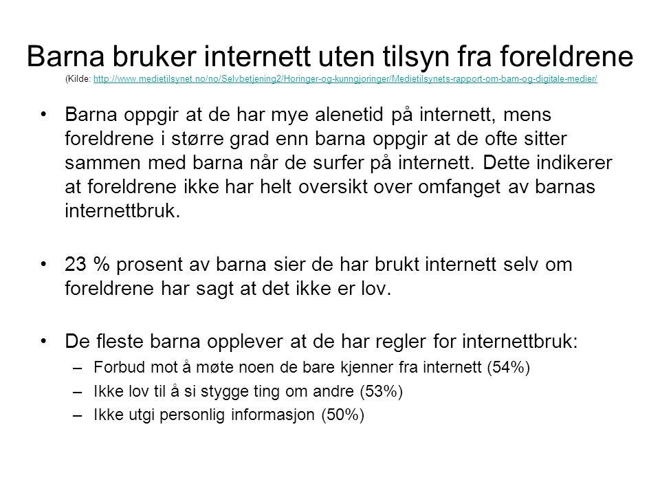 Barna bruker internett uten tilsyn fra foreldrene (Kilde: http://www