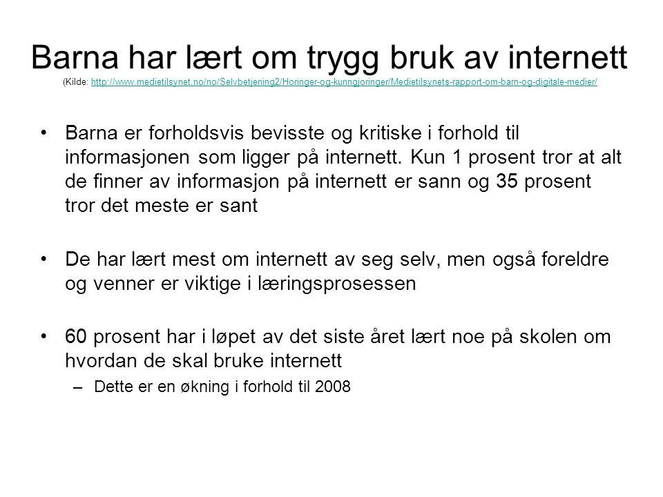 Barna har lært om trygg bruk av internett (Kilde: http://www