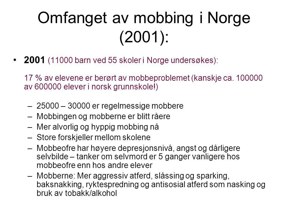 Omfanget av mobbing i Norge (2001):