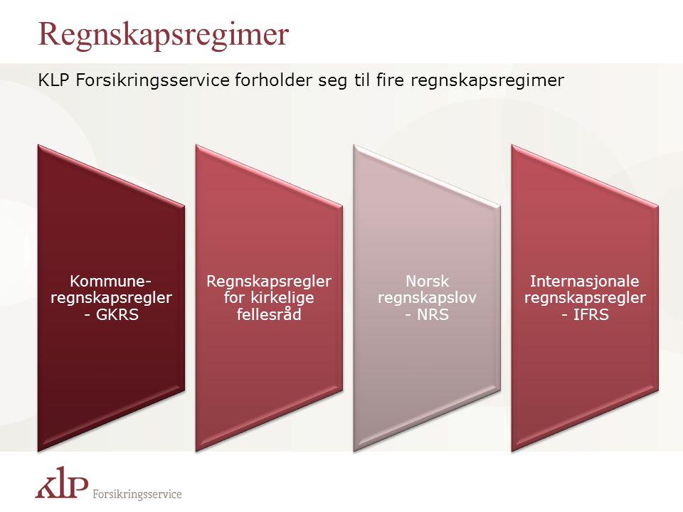 Regnskapsregimer KLP Forsikringsservice forholder seg til fire regnskapsregimer. Kommune- regnskapsregler - GKRS.