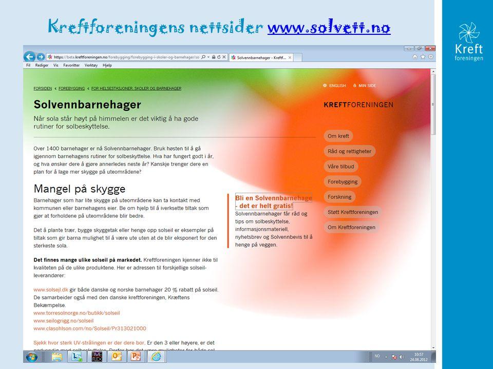 Kreftforeningens nettsider www.solvett.no