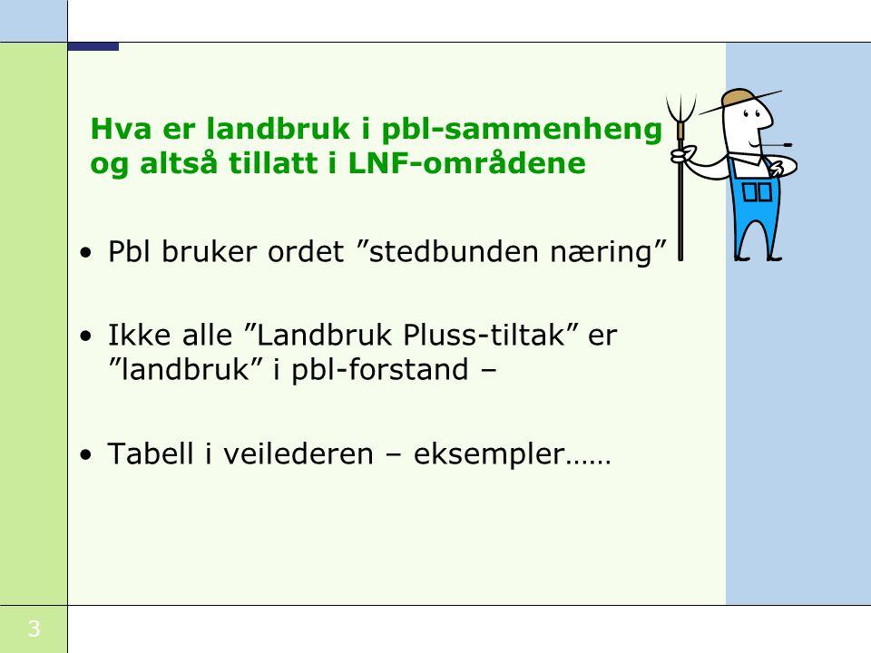 Hva er landbruk i pbl-sammenheng og altså tillatt i LNF-områdene
