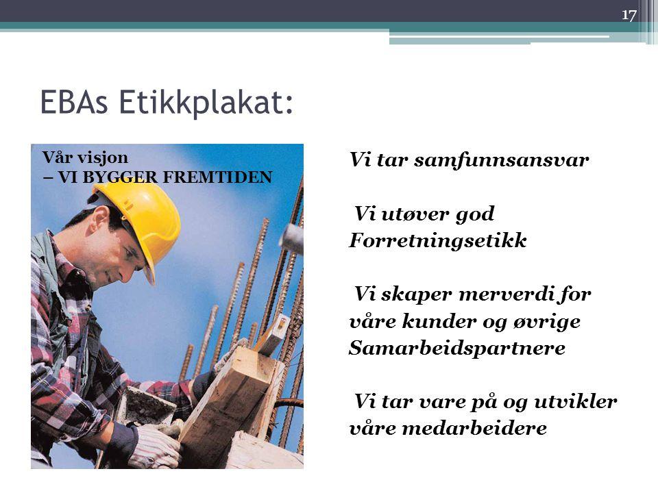 EBAs Etikkplakat: Vår visjon. – VI BYGGER FREMTIDEN.