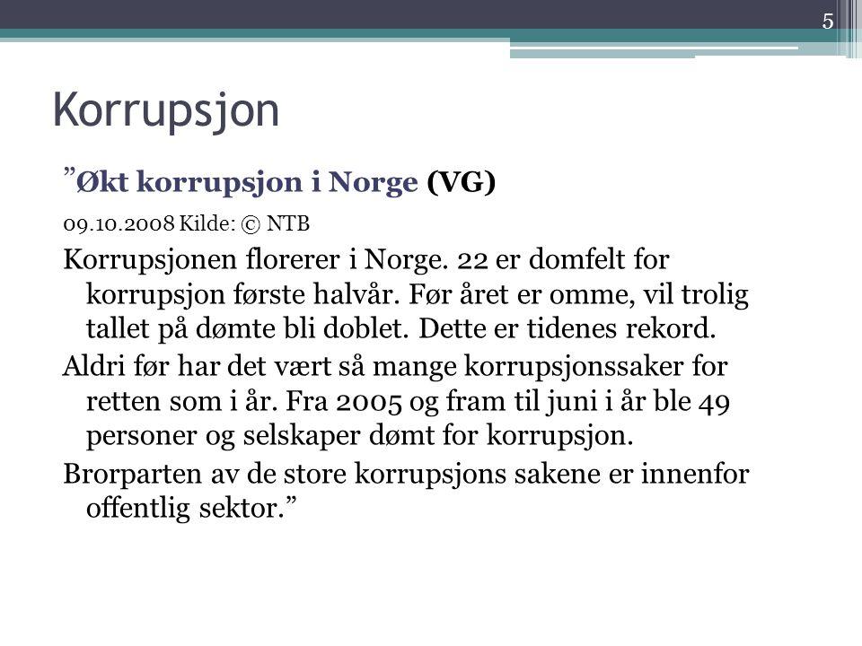 Korrupsjon Økt korrupsjon i Norge (VG)