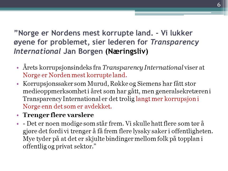 Norge er Nordens mest korrupte land