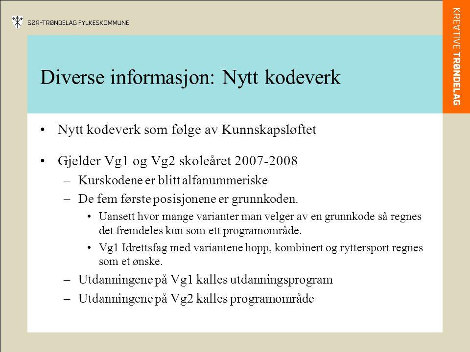 Diverse informasjon: Nytt kodeverk