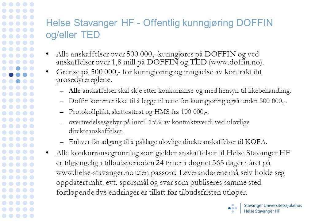 Helse Stavanger HF - Offentlig kunngjøring DOFFIN og/eller TED
