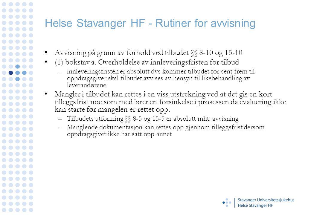 Helse Stavanger HF - Rutiner for avvisning