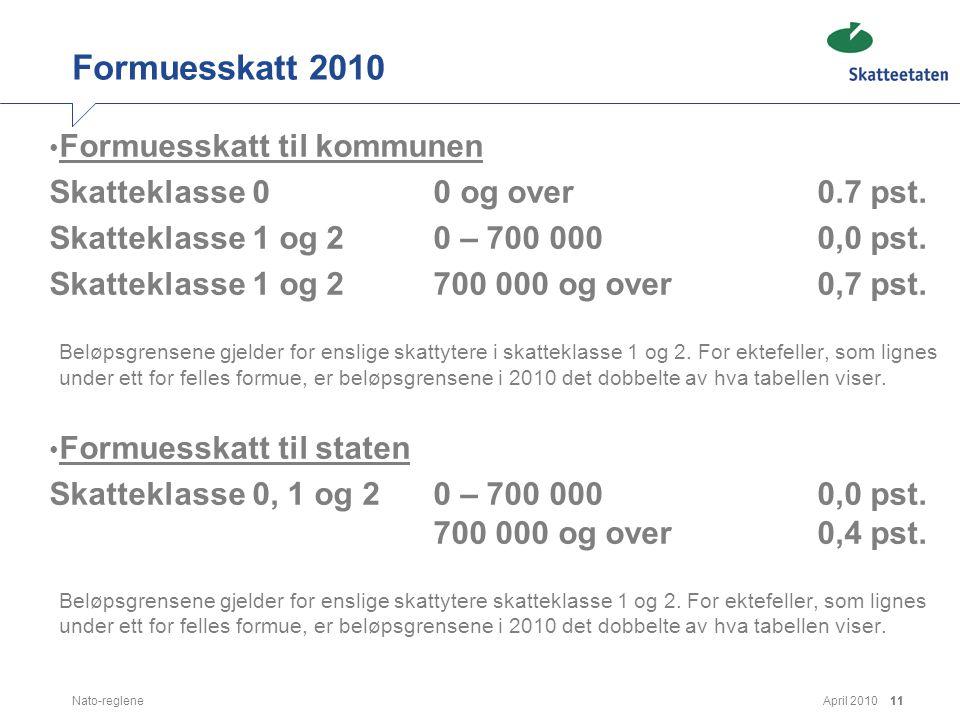 Formuesskatt 2010 Formuesskatt til kommunen