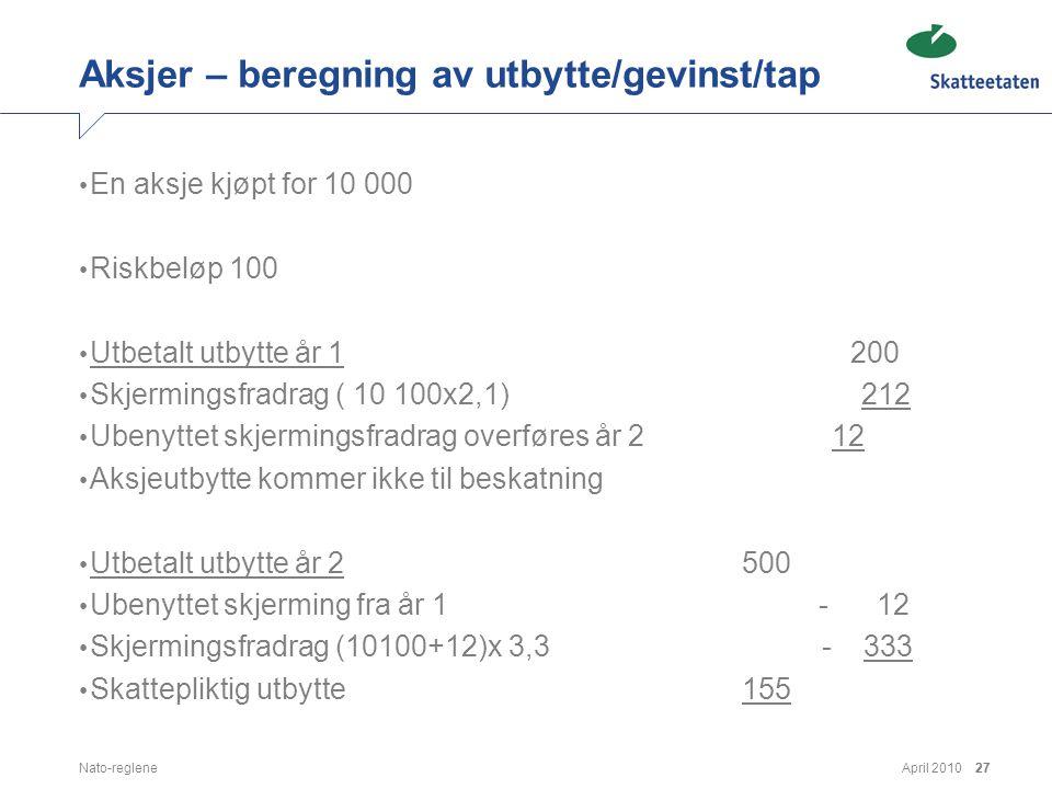 Aksjer – beregning av utbytte/gevinst/tap