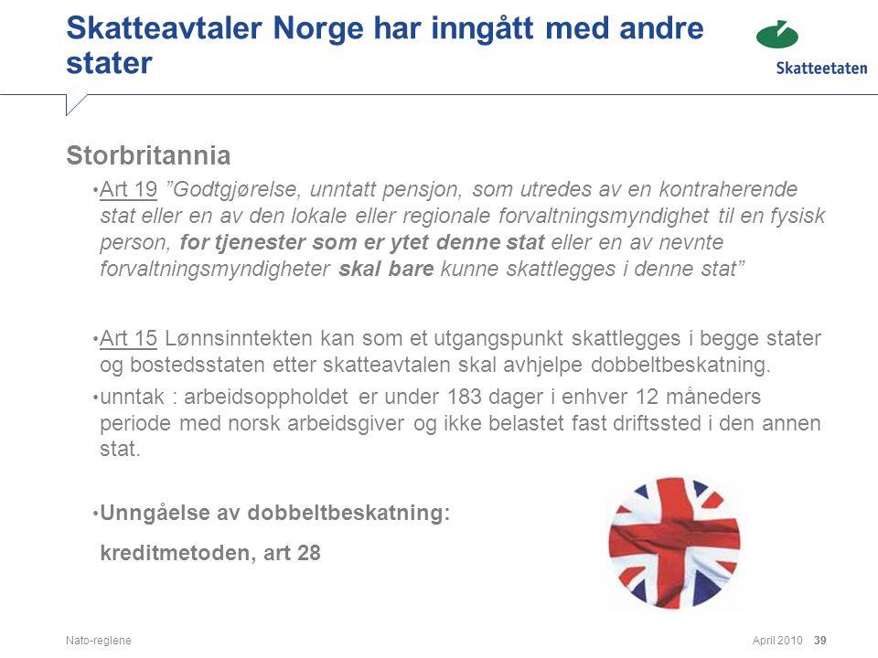 Skatteavtaler Norge har inngått med andre stater