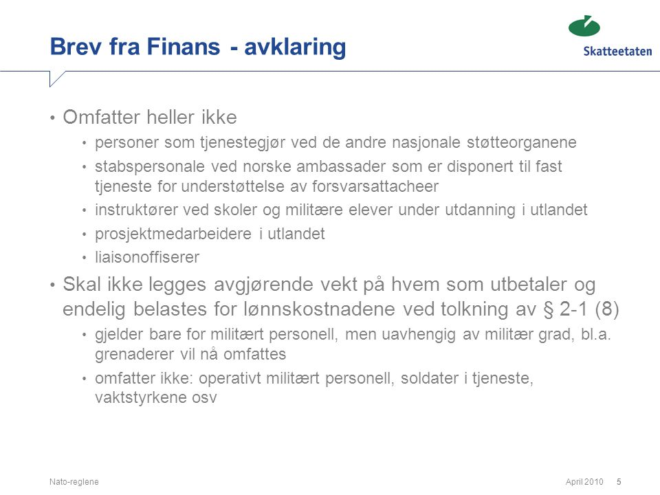 Brev fra Finans - avklaring
