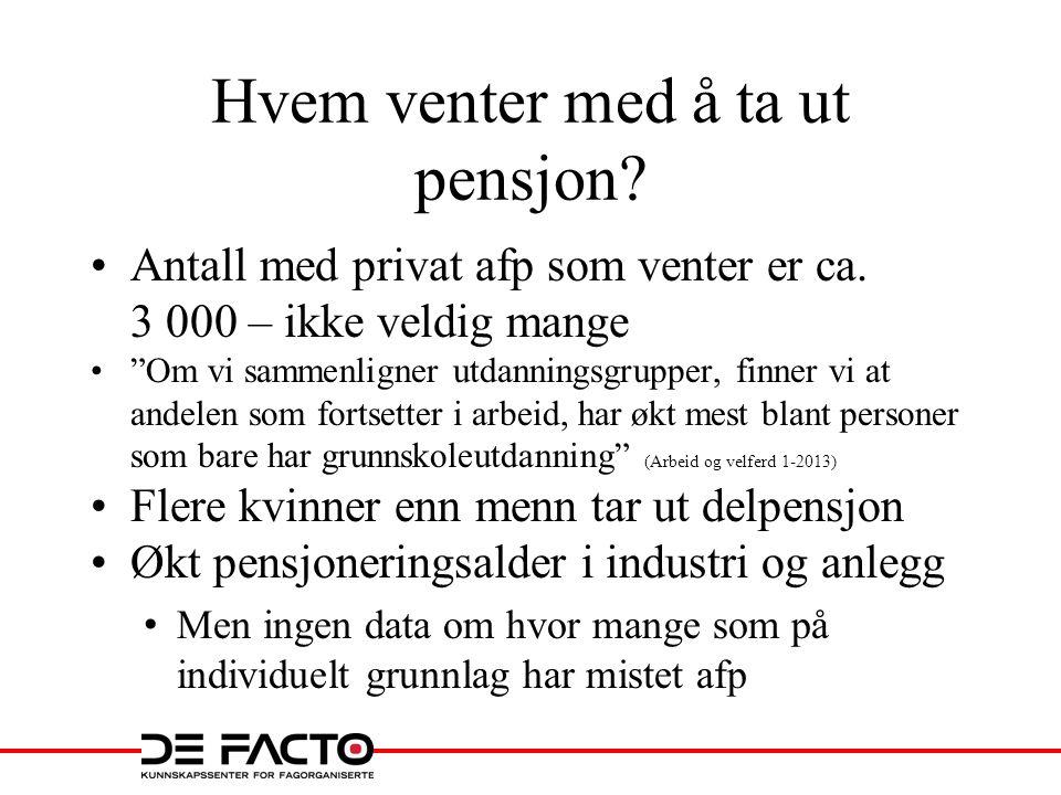 Hvem venter med å ta ut pensjon