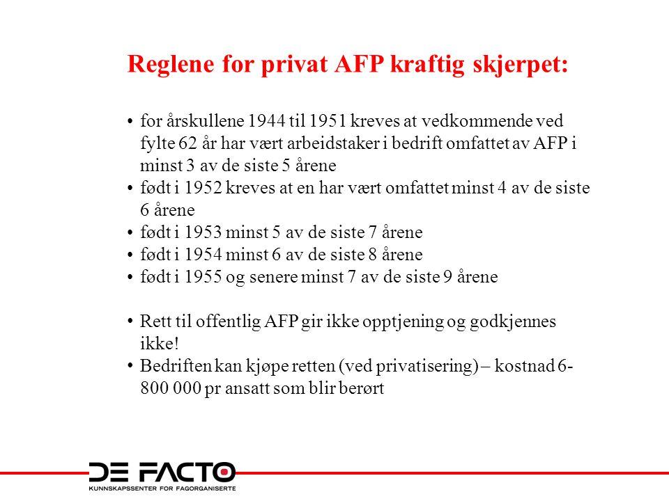 Reglene for privat AFP kraftig skjerpet: