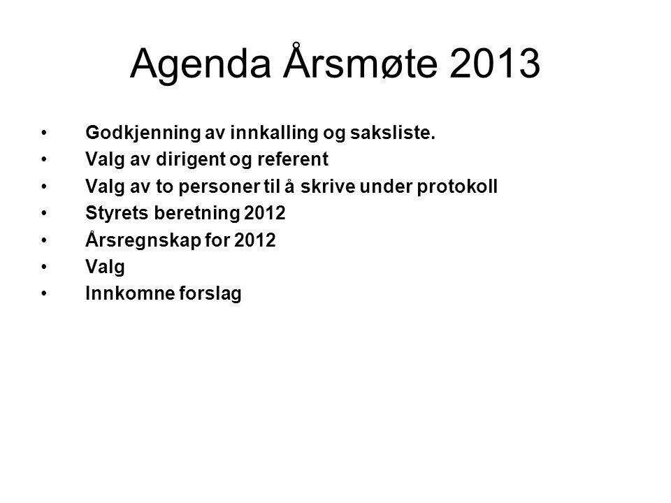 Agenda Årsmøte 2013 Godkjenning av innkalling og saksliste.