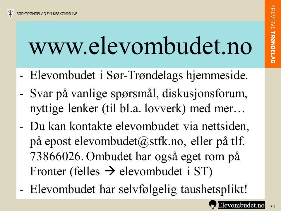 www.elevombudet.no Elevombudet i Sør-Trøndelags hjemmeside.