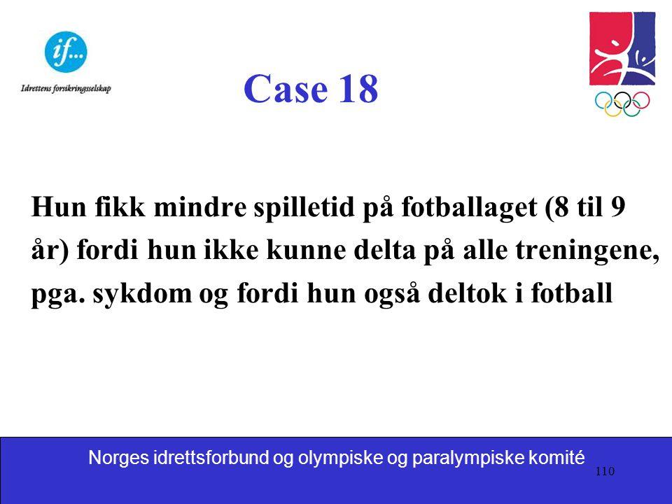 Case 18 Hun fikk mindre spilletid på fotballaget (8 til 9