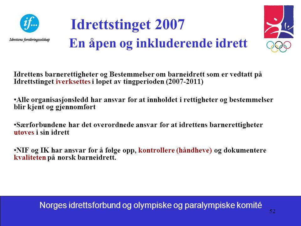 Idrettstinget 2007 En åpen og inkluderende idrett