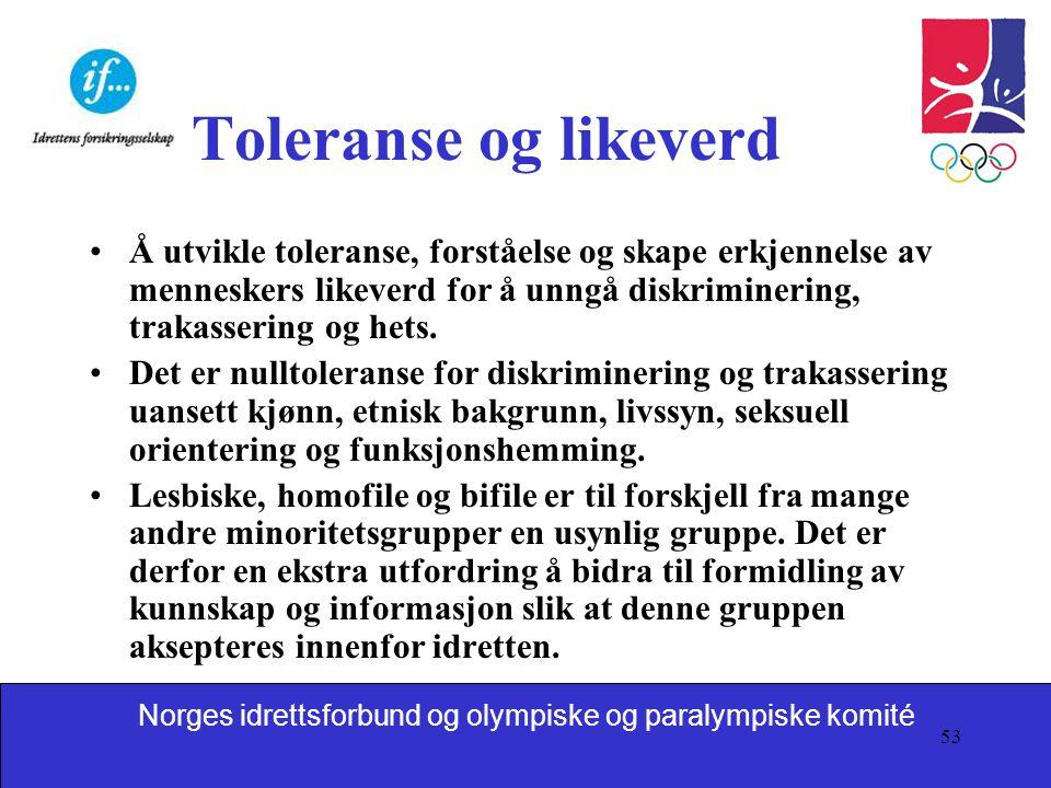 Toleranse og likeverd Å utvikle toleranse, forståelse og skape erkjennelse av menneskers likeverd for å unngå diskriminering, trakassering og hets.