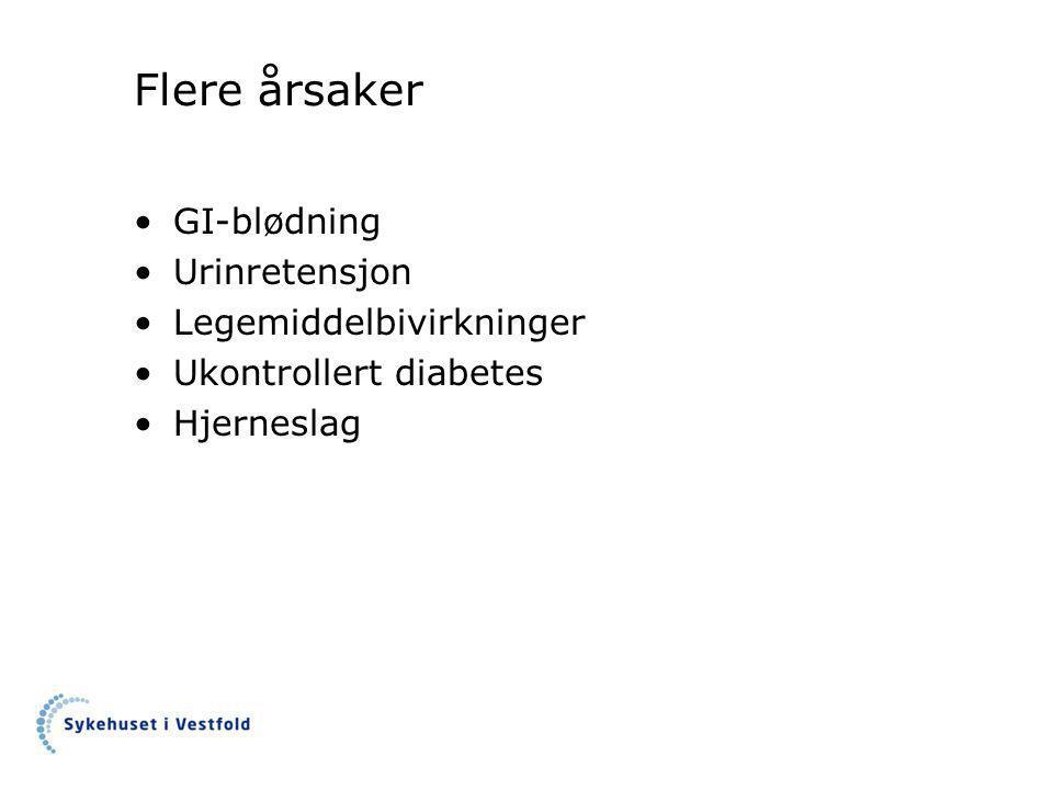 Flere årsaker GI-blødning Urinretensjon Legemiddelbivirkninger