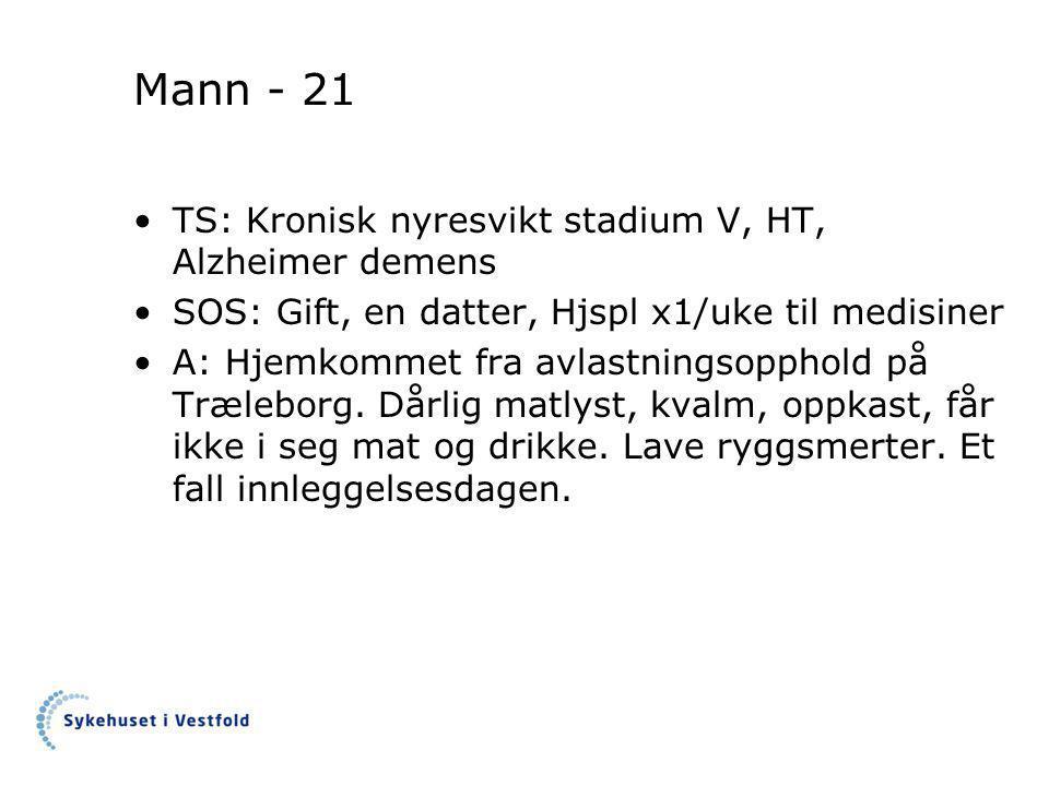 Mann - 21 TS: Kronisk nyresvikt stadium V, HT, Alzheimer demens