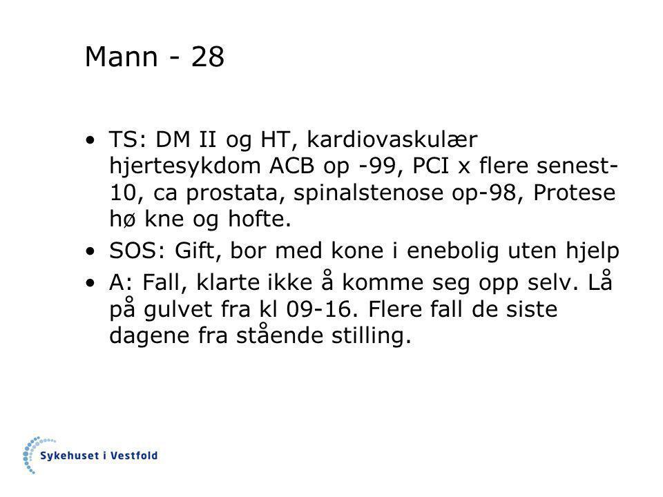 Mann - 28 TS: DM II og HT, kardiovaskulær hjertesykdom ACB op -99, PCI x flere senest-10, ca prostata, spinalstenose op-98, Protese hø kne og hofte.