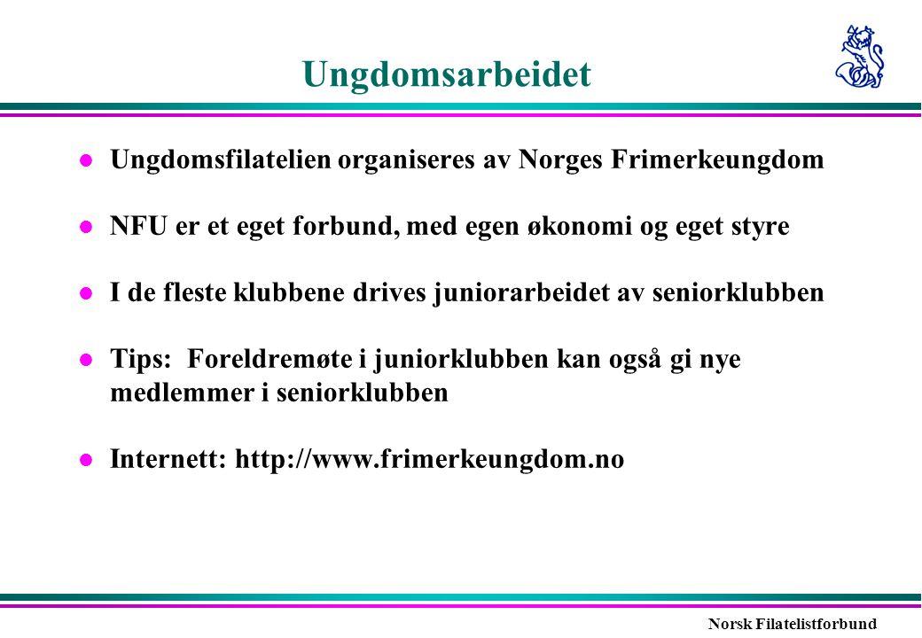 Ungdomsarbeidet Ungdomsfilatelien organiseres av Norges Frimerkeungdom