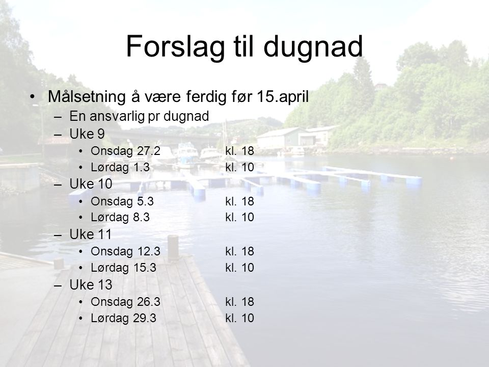 Forslag til dugnad Målsetning å være ferdig før 15.april
