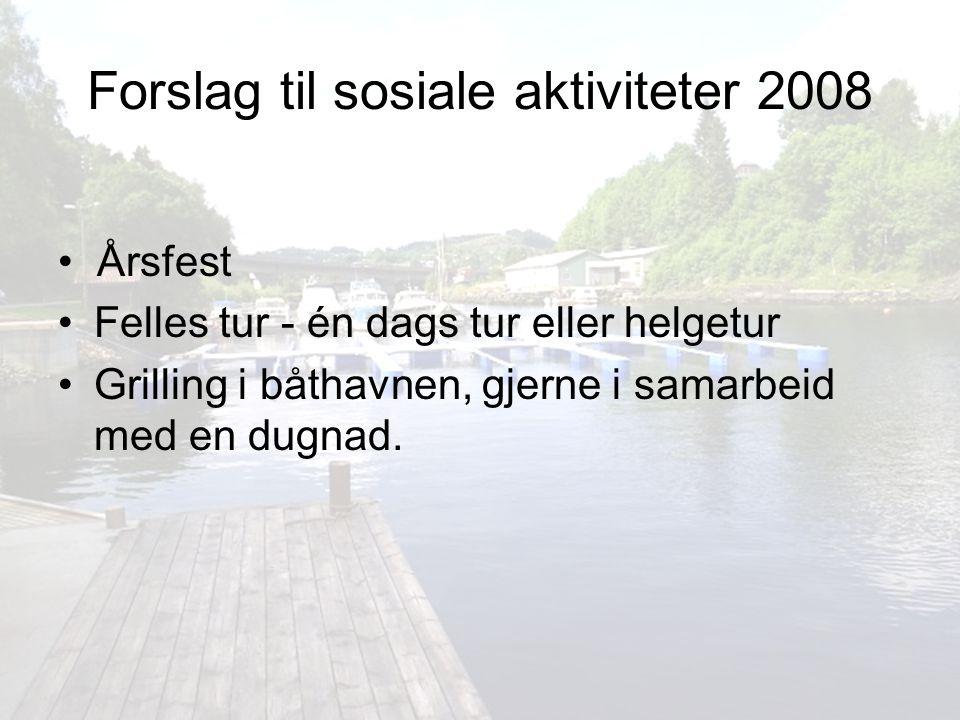 Forslag til sosiale aktiviteter 2008
