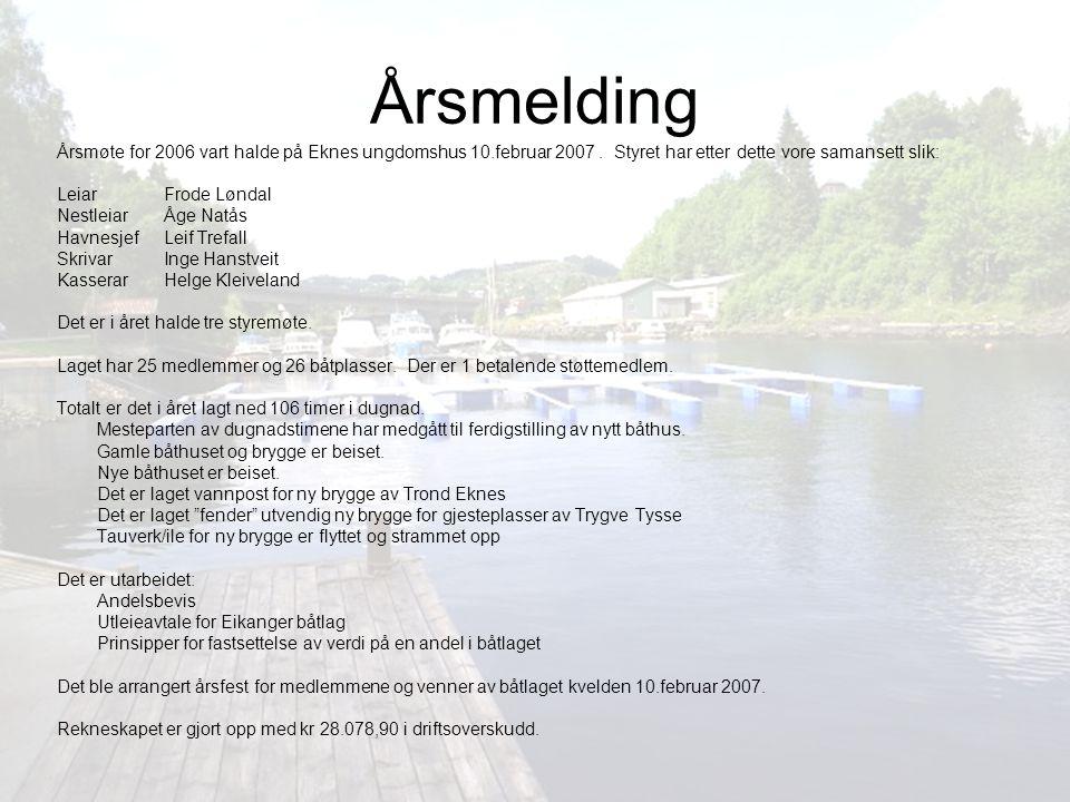 Årsmelding Årsmøte for 2006 vart halde på Eknes ungdomshus 10.februar 2007 . Styret har etter dette vore samansett slik: