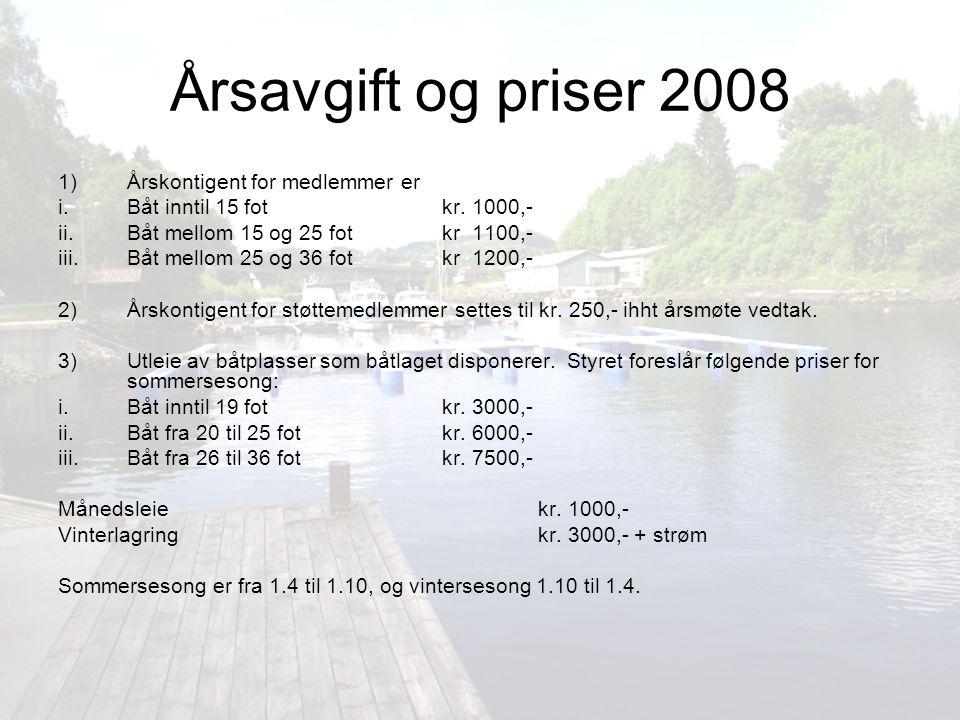 Årsavgift og priser 2008 1) Årskontigent for medlemmer er