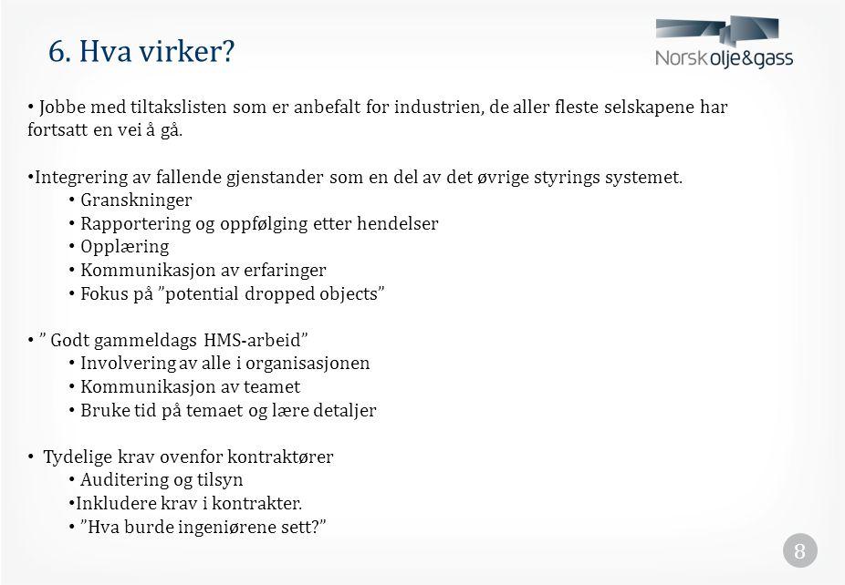 6. Hva virker Jobbe med tiltakslisten som er anbefalt for industrien, de aller fleste selskapene har fortsatt en vei å gå.