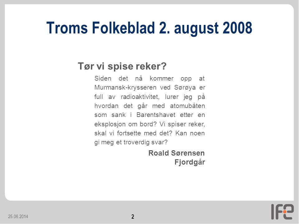 Troms Folkeblad 2. august 2008