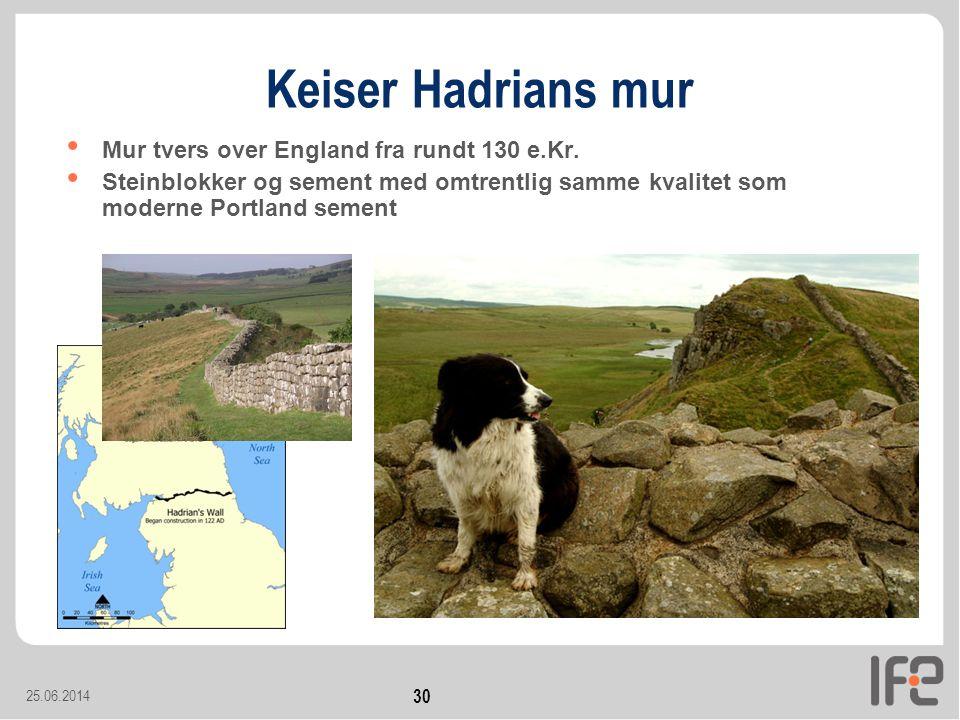 Keiser Hadrians mur Mur tvers over England fra rundt 130 e.Kr.