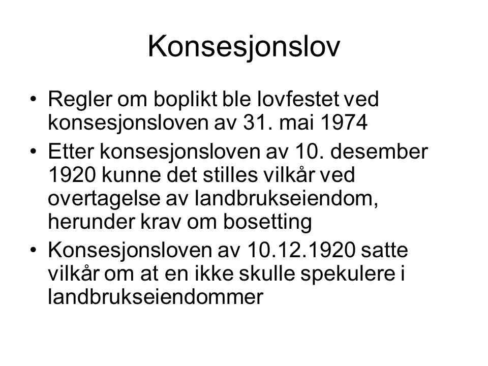 Konsesjonslov Regler om boplikt ble lovfestet ved konsesjonsloven av 31. mai 1974.