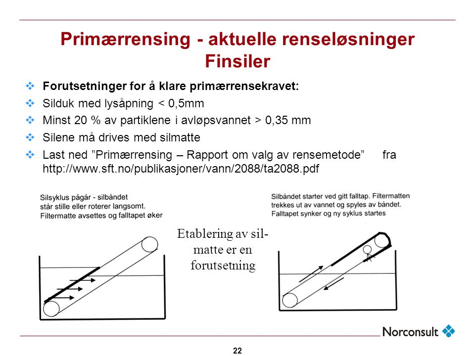 Primærrensing - aktuelle renseløsninger Finsiler