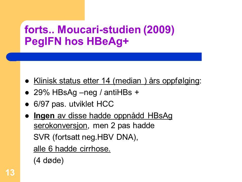 forts.. Moucari-studien (2009) PegIFN hos HBeAg+
