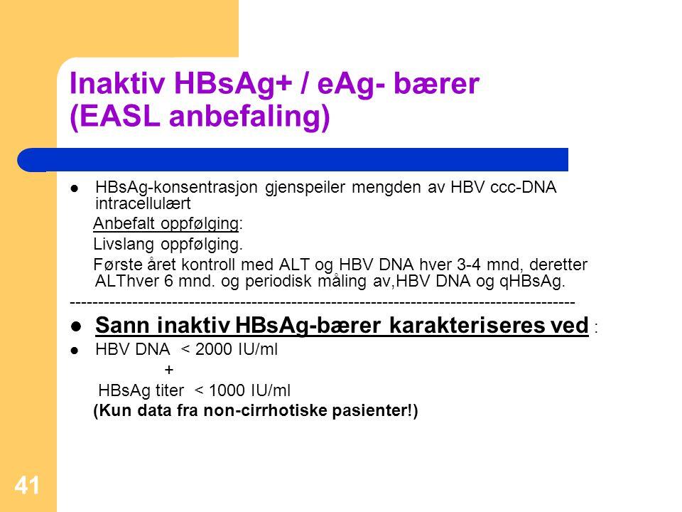 Inaktiv HBsAg+ / eAg- bærer (EASL anbefaling)