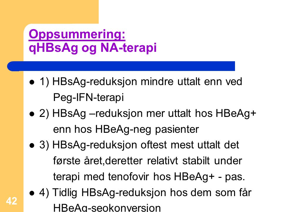 Oppsummering: qHBsAg og NA-terapi