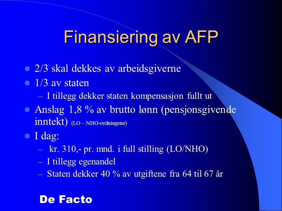 Finansiering av AFP 2/3 skal dekkes av arbeidsgiverne 1/3 av staten