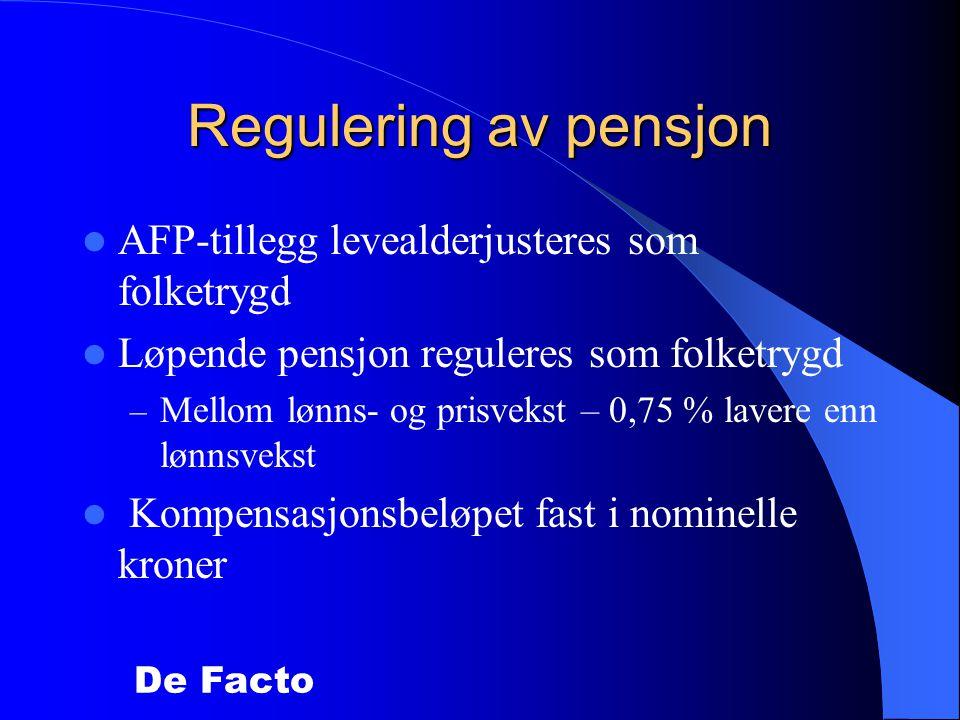 Regulering av pensjon AFP-tillegg levealderjusteres som folketrygd