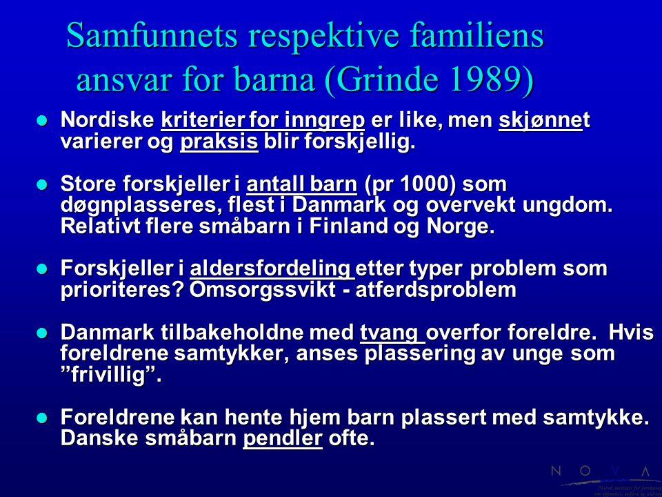 Samfunnets respektive familiens ansvar for barna (Grinde 1989)