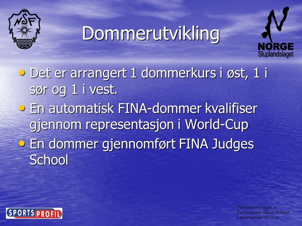 Dommerutvikling Det er arrangert 1 dommerkurs i øst, 1 i sør og 1 i vest. En automatisk FINA-dommer kvalifiser gjennom representasjon i World-Cup.