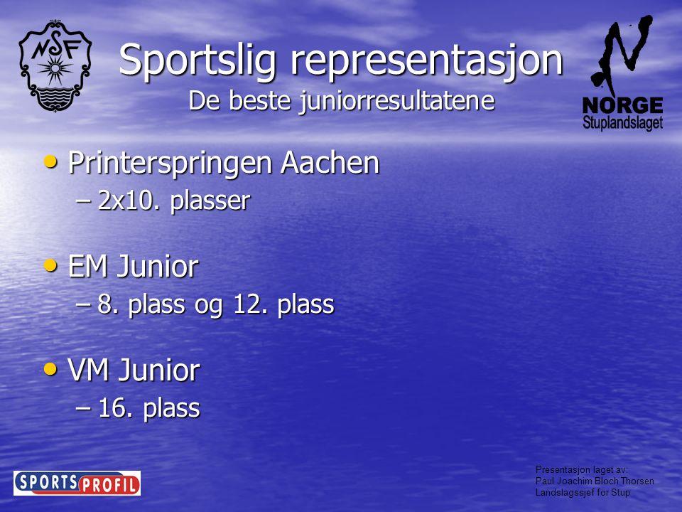 Sportslig representasjon De beste juniorresultatene