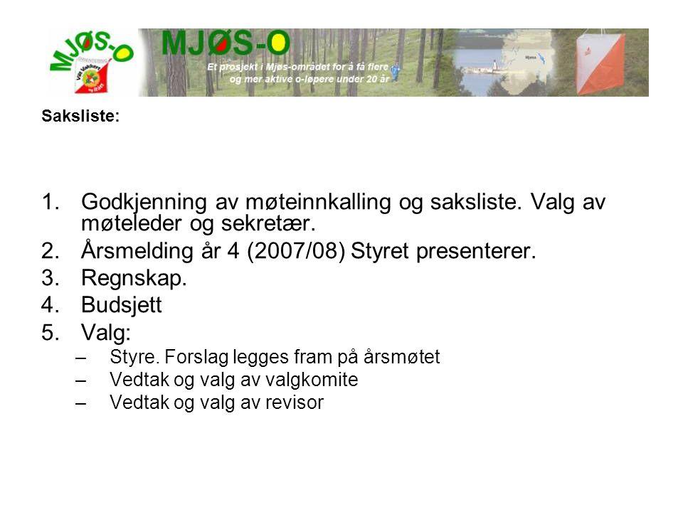 Årsmelding år 4 (2007/08) Styret presenterer. Regnskap. Budsjett Valg: