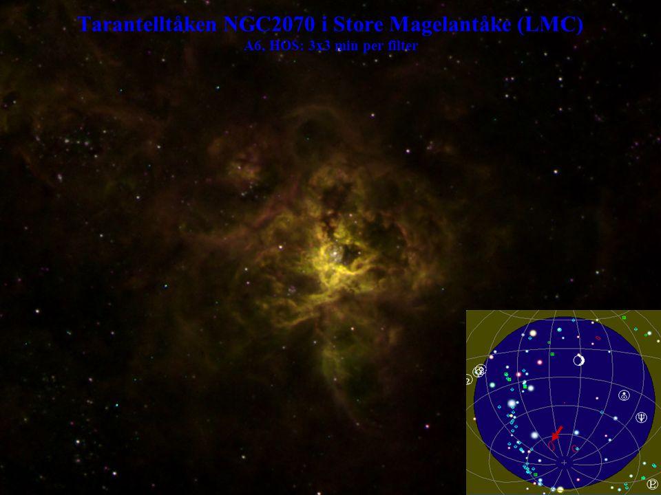 Tarantelltåken NGC2070 i Store Magelantåke (LMC) A6, HOS: 3x3 min per filter