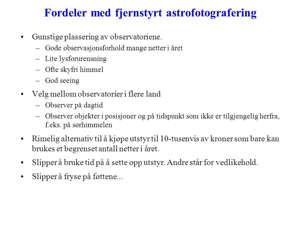 Fordeler med fjernstyrt astrofotografering