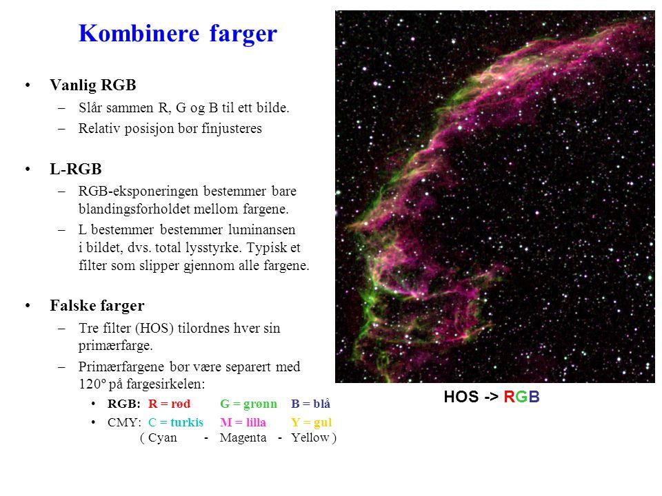Kombinere farger Vanlig RGB L-RGB Falske farger HOS -> RGB